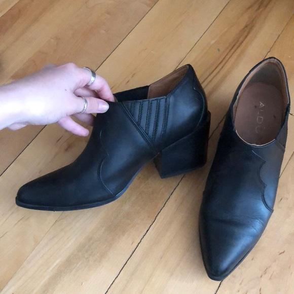 Aldo Black Genuine Leather Cowboy Booties